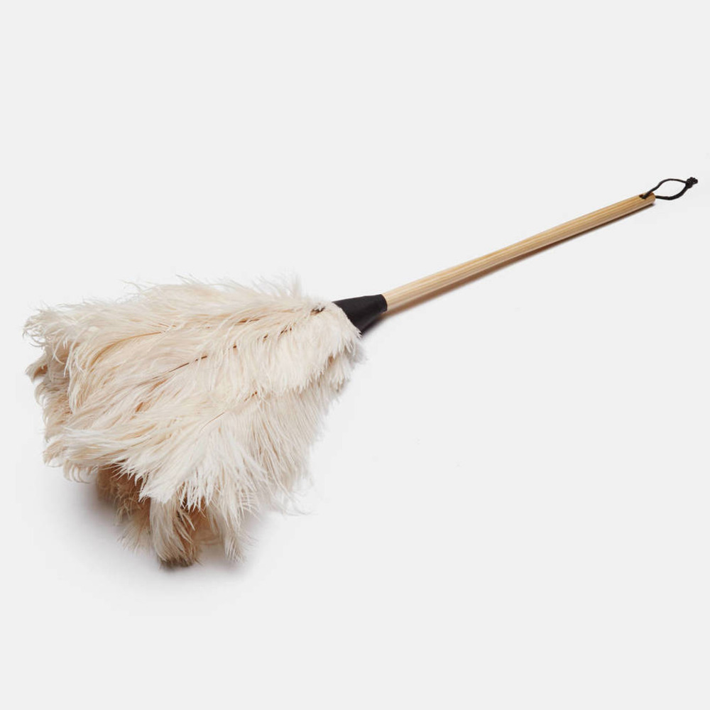 OSTRICH FEATHER DUSTER WHITE 50cm