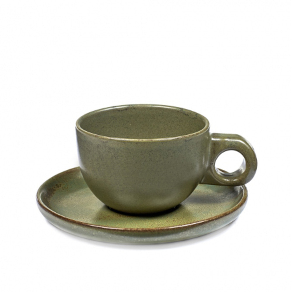 CAFE LUNGO CUP 15CL SURFACE WITH UNDER PLATE CAMOGREEN