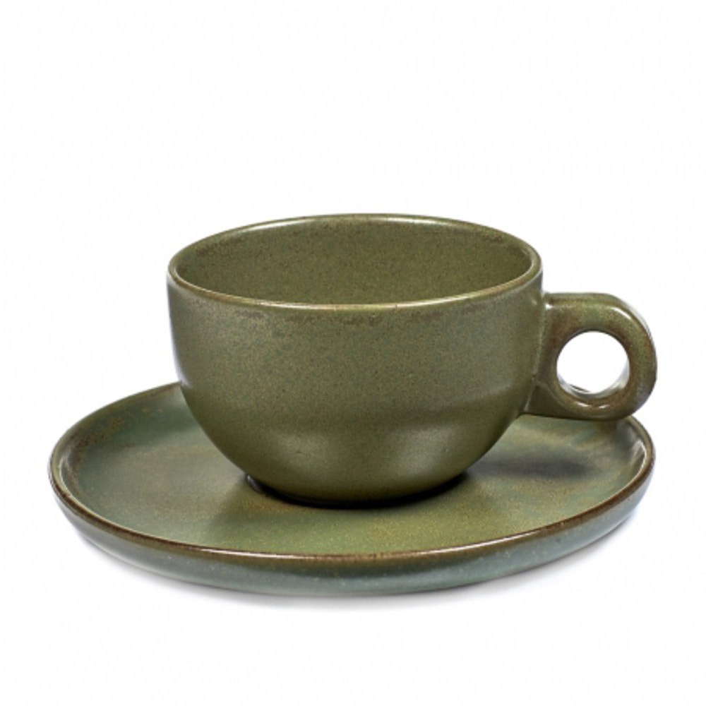 CAPPUCCINO CUP 25CL SURFACE WITH UNDER PLATE CAMOGREEN